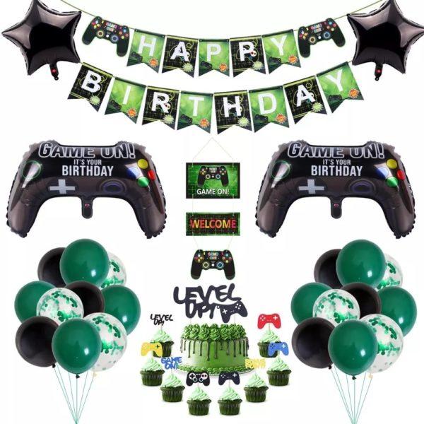 Décorations de Fête d'anniversaire avec thème Jeux Vidéo.