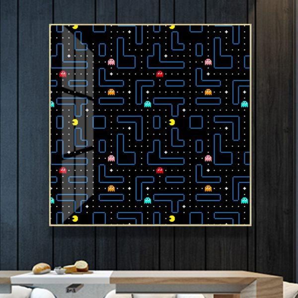 Toile de Peinture Abstraite Pacman.