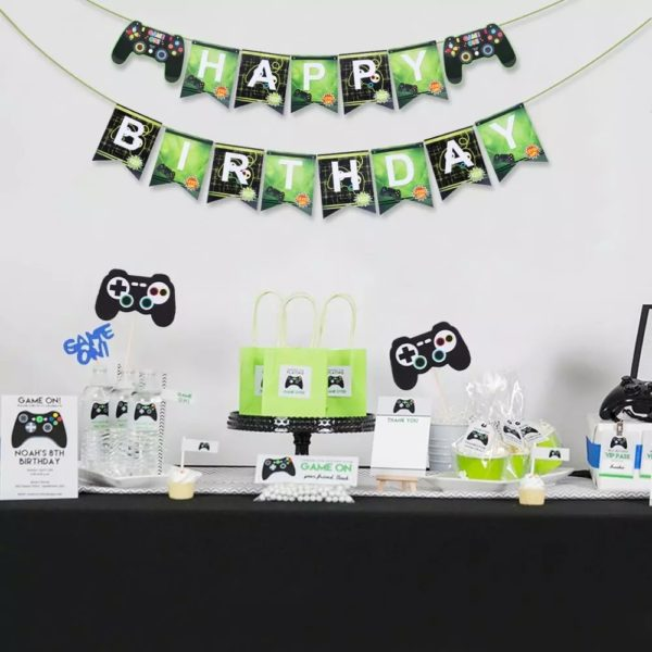 Décorations de Fête d'anniversaire avec thème Jeux Vidéo. 5