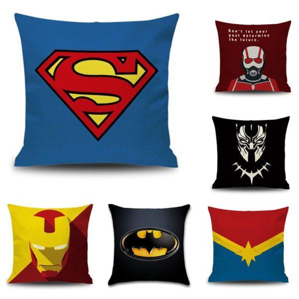 Housse de coussin avec Emblème Super-Héros.