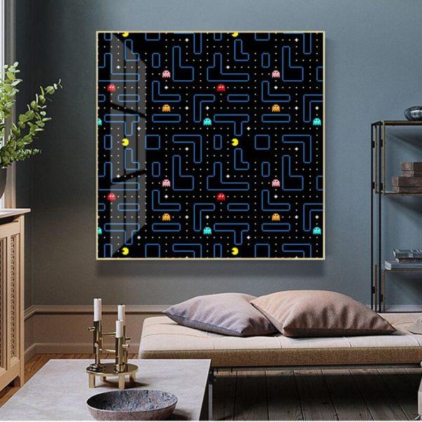 Toile de Peinture Abstraite Pacman. 5